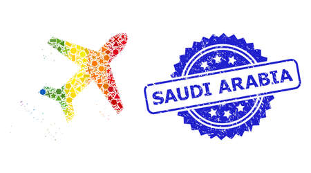 Rainbow colored vector flying air liner mosaic for LGBT, and Saudi Arabia scratched rosette seal imitation. Blue stamp seal contains Saudi Arabia tag inside rosette.