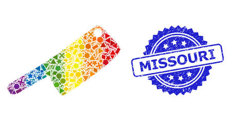 Spectrum vibrant vector butchery knife collage for LGBT, and Missouri textured rosette seal. Blue seal has Missouri caption inside rosette.