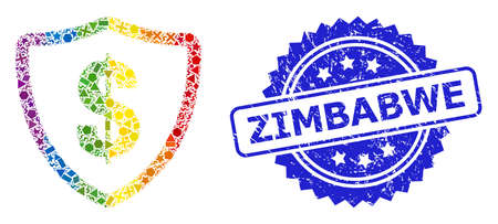 Bright colored vector dollar protection mosaic for LGBT, and Zimbabwe corroded rosette seal print. Blue stamp seal contains Zimbabwe title inside rosette.