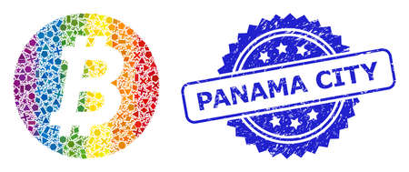 Spectrum vibrant vector bitcoin coin collage for LGBT, and Panama City textured rosette stamp seal. Blue stamp seal contains Panama City text inside rosette.