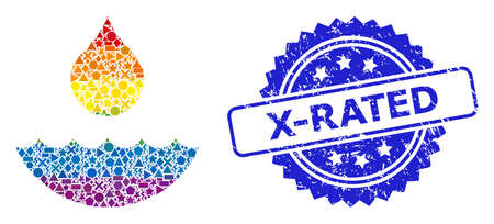 Spectrum vibrant vector water mosaic for LGBT, and X-Rated corroded rosette seal imitation. Blue stamp seal contains X-Rated text inside rosette.  イラスト・ベクター素材