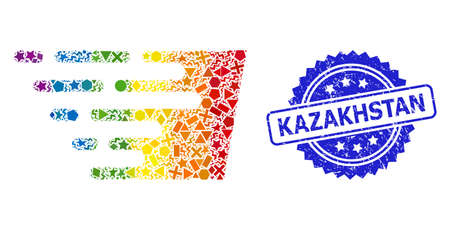 Bright colored vector fast effect mosaic for LGBT, and Kazakhstan textured rosette stamp. Blue stamp contains Kazakhstan tag inside rosette.