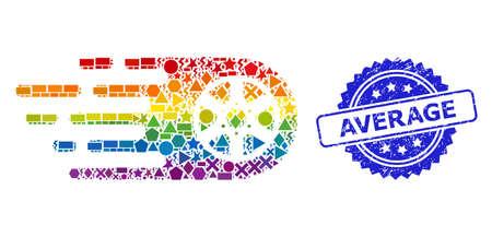 Rainbow vibrant vector tire wheel collage for LGBT, and Average unclean rosette seal print. Blue seal has Average title inside rosette. Ilustração