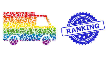 Spectrum colored vector van car mosaic for LGBT, and Ranking grunge rosette stamp. Blue stamp includes Ranking tag inside rosette.