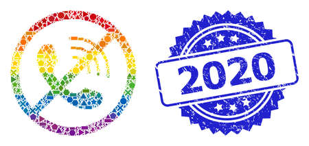 Bright colored vector no phone calls collage for LGBT, and 2020 textured rosette stamp seal. Blue stamp seal contains 2020 tag inside rosette.