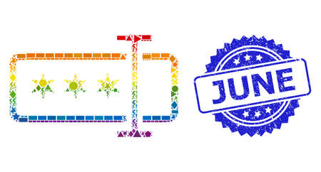 Bright colorful vector password field collage for LGBT, and June textured rosette stamp. Blue stamp includes June text inside rosette.