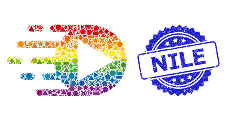 Bright colored vector play function mosaic for LGBT, and Nile rubber rosette seal. Blue stamp seal includes Nile caption inside rosette.