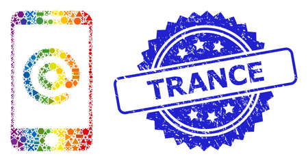 Bright vibrant vector smartphone address collage for LGBT, and Trance scratched rosette stamp seal. Blue stamp seal contains Trance tag inside rosette. Ilustrace