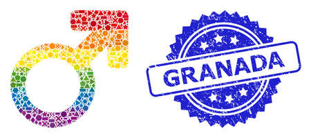 Spectrum vibrant vector male symbol collage for LGBT, and Granada unclean rosette stamp seal. Blue stamp seal includes Granada title inside rosette. 向量圖像