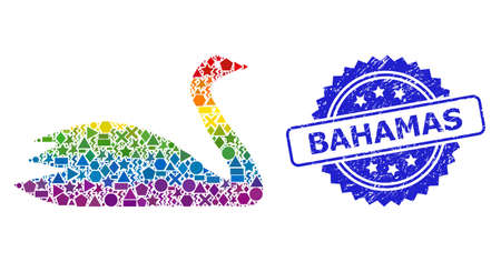 Bright vibrant vector goose collage for LGBT, and Bahamas corroded rosette stamp seal. Blue stamp seal includes Bahamas title inside rosette.