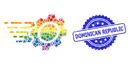 Spectrum colored vector gear mosaic for LGBT, and Dominican Republic unclean rosette seal imitation. Blue stamp seal includes Dominican Republic text inside rosette. 矢量图像