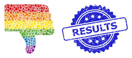 Rainbow vibrant vector thumb down mosaic for LGBT, and Results corroded rosette seal imitation. Blue seal contains Results title inside rosette.