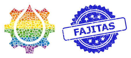Spectrum colored vector water gear service collage for LGBT, and Fajitas textured rosette stamp. Blue stamp seal includes Fajitas caption inside rosette.