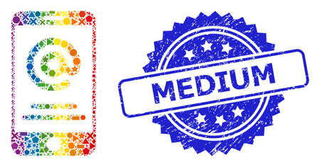 Bright vibrant vector smartphone address info mosaic for LGBT, and Medium textured rosette stamp seal. Blue stamp seal has Medium title inside rosette.