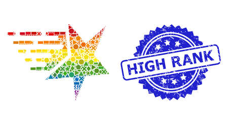 Spectrum colorful vector star collage for LGBT, and High Rank dirty rosette stamp seal. Blue stamp seal contains High Rank text inside rosette.