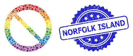 Rainbow colorful vector forbidden mosaic for LGBT, and Norfolk Island corroded rosette stamp seal. Blue stamp seal contains Norfolk Island caption inside rosette. Иллюстрация