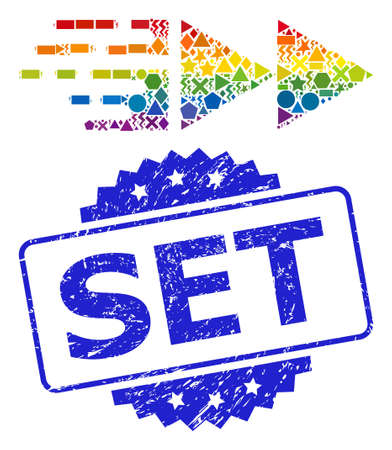 Rainbow colored vector move mosaic for LGBT, and Set unclean rosette stamp seal. Blue stamp seal contains Set title inside rosette.