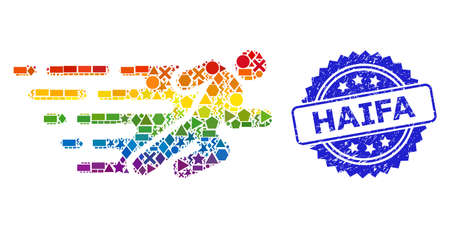 Rainbow colored vector running man mosaic for LGBT, and Haifa scratched rosette seal print. Blue stamp seal has Haifa tag inside rosette.
