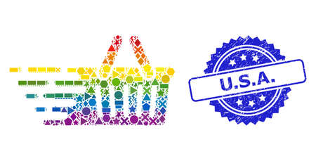 Rainbow vibrant vector shopping basket collage for LGBT, and U.S.A. corroded rosette stamp seal. Blue stamp seal has U.S.A. tag inside rosette. Иллюстрация