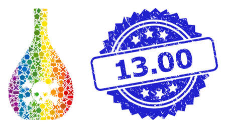 Bright colorful vector poison jug mosaic for LGBT, and 13.00 unclean rosette stamp seal. Blue stamp seal has 13.00 title inside rosette. Иллюстрация