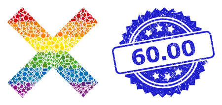 Spectrum colored vector reject cross mosaic for LGBT, and 60.00 unclean rosette stamp seal. Blue stamp includes 60.00 tag inside rosette.