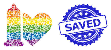 Spectrum colorful vector safe love mosaic for LGBT, and Saved scratched rosette stamp seal. Blue stamp seal has Saved tag inside rosette.