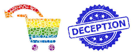 Rainbow colorful vector refund shopping order collage for LGBT, and Deception corroded rosette seal print. Blue stamp seal contains Deception caption inside rosette. Иллюстрация