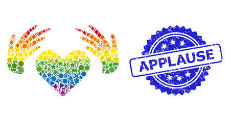 Rainbow vibrant vector handmade love mosaic for LGBT, and Applause corroded rosette seal print. Blue seal contains Applause tag inside rosette. Иллюстрация