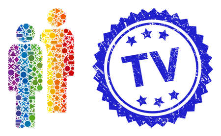 Rainbow vibrant vector men collage for LGBT, and TV textured rosette seal imitation. Blue seal includes TV text inside rosette. Geometric scattered parts are organized into abstract collage men icon.