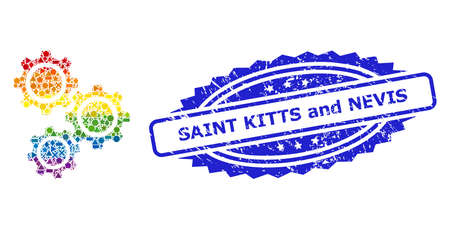 Bright vibrant vector gears collage for LGBT, and Saint Kitts and Nevis grunge rosette seal imitation. Blue stamp seal contains Saint Kitts and Nevis tag inside rosette.