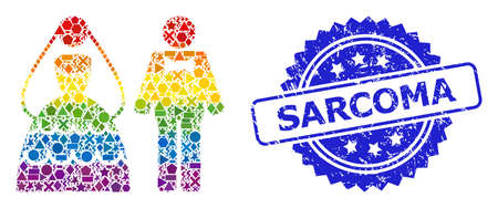 Spectrum vibrant vector wedding couple collage for LGBT, and Sarcoma grunge rosette stamp seal. Blue seal contains Sarcoma tag inside rosette.