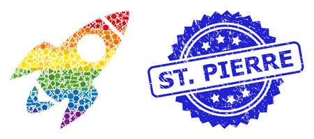 Rainbow colored vector rocket flight collage for LGBT, and St. Pierre dirty rosette stamp seal. Blue stamp includes St. Pierre text inside rosette.