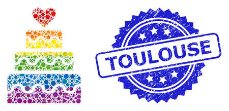 Bright colored vector marriage cake collage for LGBT, and Toulouse grunge rosette seal. Blue stamp seal has Toulouse tag inside rosette.