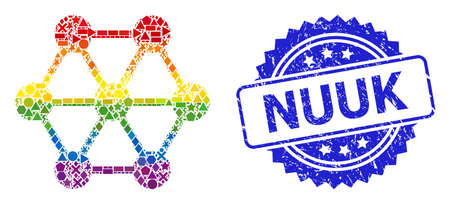 Bright vibrant vector node connections collage for LGBT, and Nuuk scratched rosette seal. Blue stamp seal has Nuuk caption inside rosette.