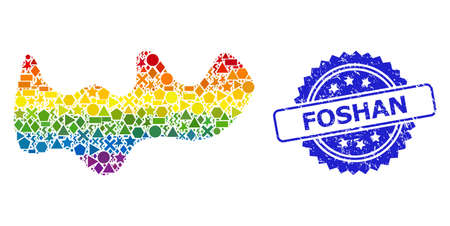 Bright colored vector spot collage for LGBT, and Foshan textured rosette stamp seal. Blue seal has Foshan tag inside rosette. Geometric randomized parts are united into abstract mosaic spot icon.