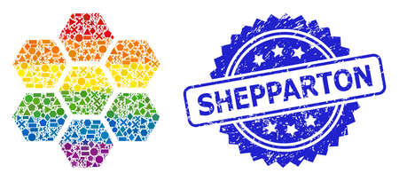 Bright vibrant vector honeycombs mosaic for LGBT, and Shepparton dirty rosette seal imitation. Blue stamp seal includes Shepparton title inside rosette. Иллюстрация