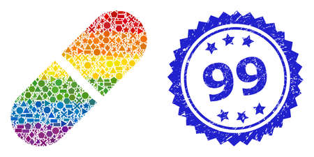 Rainbow colorful vector medication pill collage for LGBT, and 99 rubber rosette seal print. Blue seal contains 99 tag inside rosette.