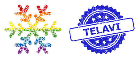 Rainbow colorful vector snowflake collage for LGBT, and Telavi corroded rosette seal print. Blue stamp seal includes Telavi tag inside rosette. Иллюстрация