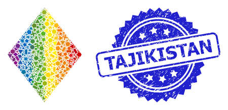 Spectrum colored vector filled rhombus mosaic for LGBT, and Tajikistan grunge rosette stamp seal. Blue stamp seal includes Tajikistan title inside rosette.