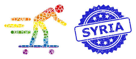 Rainbow vibrant vector scate roller man collage for LGBT, and Syria dirty rosette seal. Blue stamp seal contains Syria text inside rosette. Иллюстрация