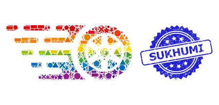 Rainbow colorful vector tire wheel collage for LGBT, and Sukhumi rubber rosette seal print. Blue seal contains Sukhumi caption inside rosette.