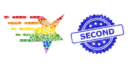 Spectrum vibrant vector star collage for LGBT, and Second rubber rosette stamp. Blue stamp includes Second text inside rosette. Geometric randomized dots are organized into abstract collage star icon. Иллюстрация