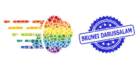 Bright vibrant vector gas cloud mosaic for LGBT, and Brunei Darussalam rubber rosette stamp seal. Blue stamp seal contains Brunei Darussalam text inside rosette.