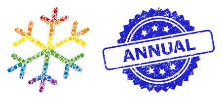 Bright colorful vector snowflake mosaic for LGBT, and Annual unclean rosette stamp. Blue stamp includes Annual text inside rosette. Иллюстрация