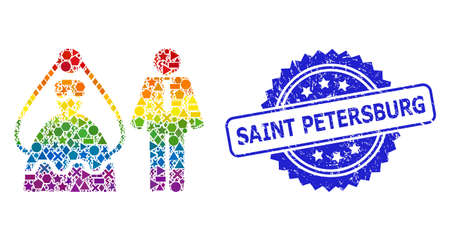 Bright colored vector marriage persons mosaic for LGBT, and Saint Petersburg grunge rosette stamp. Blue stamp seal has Saint Petersburg title inside rosette.
