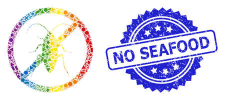 Rainbow vibrant vector forbidden cockroach mosaic for LGBT, and No Seafood grunge rosette seal imitation. Blue stamp seal contains No Seafood tag inside rosette.