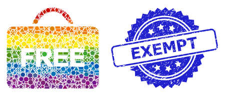 Bright colorful vector free case collage for LGBT, and Exempt dirty rosette seal imitation. Blue seal has Exempt text inside rosette.