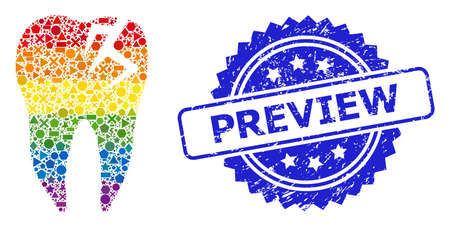 Spectrum colored vector tooth fracture collage for LGBT, and Preview rubber rosette stamp seal. Blue stamp seal contains Preview text inside rosette. Иллюстрация