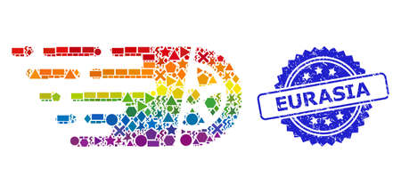 Spectrum vibrant vector tire wheel collage for LGBT, and Eurasia unclean rosette seal imitation. Blue stamp seal has Eurasia tag inside rosette.