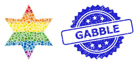 Bright colorful vector six corner star collage for LGBT, and Gabble scratched rosette seal. Blue stamp seal has Gabble tag inside rosette.
